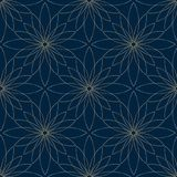 Seamless golden flower pattern. On blue background Royalty Free Stock Photography