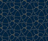 Seamless golden flower pattern. On blue background Royalty Free Stock Photo