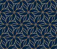 Seamless golden flower pattern. On blue background Royalty Free Stock Images