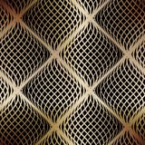 Seamless golden grid of wavy lines on a black background. Royalty Free Stock Image
