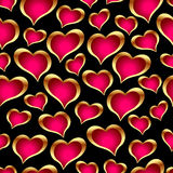 Seamless golden hearts Royalty Free Stock Photography