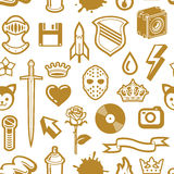 Seamless Golden Pattern. With Emblem Royalty Free Stock Image