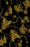 Seamless golden pattern on black color royalty free illustration