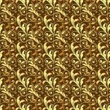 Seamless golden pattern on brown background Royalty Free Stock Image