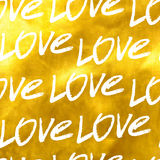 Seamless Golden pattern of the word love Royalty Free Stock Photos