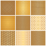 Seamless golden patterns Royalty Free Stock Photo