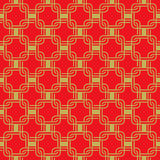 Seamless golden red Chinese style arranged in a crisscross square pattern. Stock Images