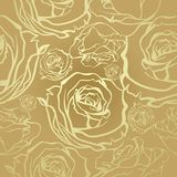 Seamless golden roses Stock Photography