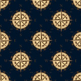 Seamless golden stylized compass rose pattern Royalty Free Stock Photo