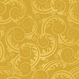 Seamless golden swirls and leaves wallpaper Royalty Free Stock Images