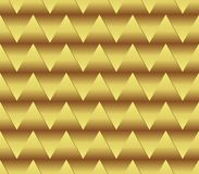 Seamless golden triangle background with spatial effect, golden gradient, optical art background Stock Photography