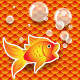 Seamless goldfish over fish scale pattern Royalty Free Stock Photos