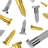 Seamless goldish - silver screw pattern Royalty Free Stock Images