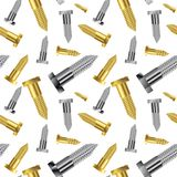 Seamless goldish - silver screw pattern extended Royalty Free Stock Images