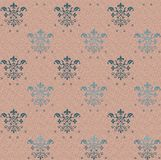 Seamless gothic wallpaper pattern on pink background with blue floral elements royalty free illustration