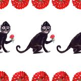 Seamless gouache black frida monkey pattern with red flowers. On white background royalty free illustration