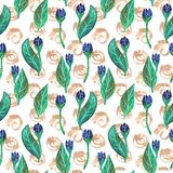 Seamless gouache pattern of blue flowers and leaves with golden elements. On white background vector illustration