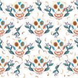 Seamless gouache pattern of mexican skulls and blue flowers with golden elements stock illustration