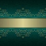 Seamless grön guld- blom- tappning mönstrar Royaltyfri Foto