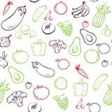 seamless grönsaker för modell teckningen hand henne morgonunderkläder upp varmt kvinnabarn sund mat Vektorn skissar, konturn Häls royaltyfri illustrationer