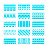 Seamless gradient blue water wave vector tiles set for patterns and textures Royalty Free Stock Image