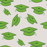Seamless graduation cap pattern Stock Image