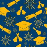 Seamless graduations backdrop of graduation caps, bells and diplomas. Graduate pattern. Celebration background. Stock Images