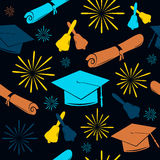 Seamless graduations backdrop of graduation caps, bells and diplomas. Graduate pattern. Celebration background. Stock Photo
