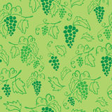 Seamless grapes green pattern. Vector seamless pattern of grapes on green background Royalty Free Stock Photography