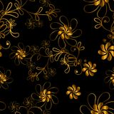 Seamless graphic design,gold flower in abstract style on black background,vector illustration. Seamless graphic design, gold flower in abstract style on black Royalty Free Stock Images