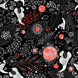 Seamless graphic floral pattern Stock Photography