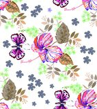 Seamless graphic, hibiscus  flower and butterfly in abstract styles on white background,vector illustration. Seamless graphic, hibiscus  flowers and butterfly in Stock Images