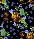 Seamless graphic, hibiscus flowers with butterfly and forget me not flowers on black background,vector illustration beautiful cir. Seamless graphic, hibiscus Stock Photography