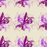 Seamless graphic, orchid flowers  on  beige  background,vector illustration. Seamless graphic, orchid flowers on beige color background,vector illustration Stock Photography