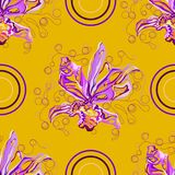 Seamless graphic, orchid flowers on yellow background,vector illustration beautiful circle. Seamless graphic, orchid  flowers on yellow background,vector Stock Photography