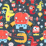 Seamless graphic pattern of amusing monsters Royalty Free Stock Photo