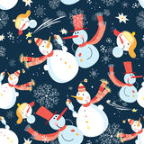 Seamless graphic pattern of Christmas snowman Stock Image