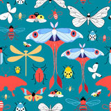 Seamless graphic pattern with different insects Stock Photos