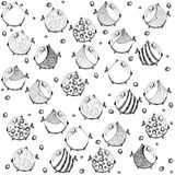 Seamless graphic pattern with fish. Art cute Royalty Free Stock Images