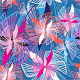 Seamless graphic pattern of flowers Royalty Free Stock Photos