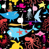 Seamless graphic pattern of marine life Stock Images