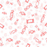 Seamless graphic pattern of red candies. Candy day. Sketch cartoon sweets texture Vector Illustration