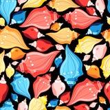 Seamless graphic pattern seashells Royalty Free Stock Photo