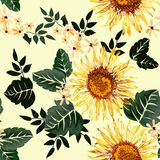 Seamless graphic sun flower and white flowers with green leaves on light yellow background,vector illustration Royalty Free Stock Image