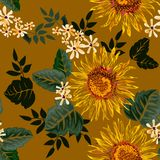 Seamless graphic sun flower and white flowers with green leaves on light yellow background,vector illustration Stock Photography