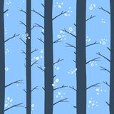Seamless graphical stylized colored winter forest pattern texture element. Durring the day Stock Image