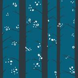 Seamless graphical stylized colored winter forest pattern texture element. At night Royalty Free Stock Image