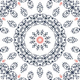 Seamless gray and orange mandala ornament Royalty Free Stock Images