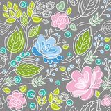 Seamless gray pattern, blue, pink flowers, green leaves, white outline. Royalty Free Stock Image