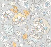 Seamless gray pattern, yellow leaves, white berries, blue seeds. Stock Image